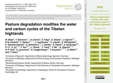 Pasture Degradation Modifies the Water a... by Babel, W.