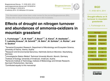 Effects of Drought on Nitrogen Turnover ... by Fuchslueger, L.