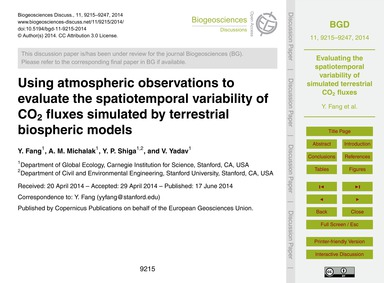 Using Atmospheric Observations to Evalua... by Fang, Y.