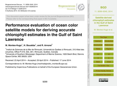 Performance Evaluation of Ocean Color Sa... by Montes-hugo, M.