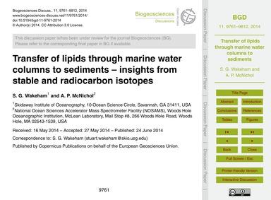 Transfer of Lipids Through Marine Water ... by Wakeham, S. G.