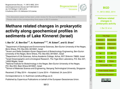 Methane Related Changes in Prokaryotic A... by Bar Or, I.
