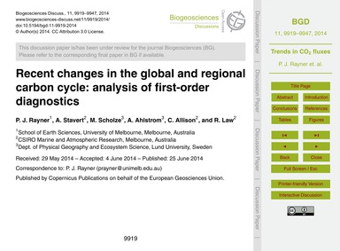 Recent Changes in the Global and Regiona... by Rayner, P. J.
