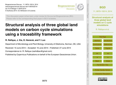 Structural Analysis of Three Global Land... by Rafique, R.