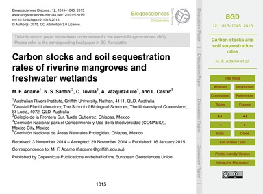 Carbon Stocks and Soil Sequestration Rat... by Adame, M. F.