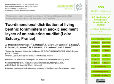 Two-dimensional Distribution of Living B... by Thibault De Chanvalon, A.