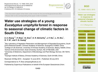 Water Use Strategies of a Young Eucalypt... by Zhang, Z. Z.