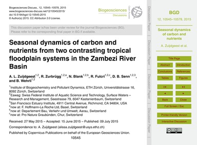 Seasonal Dynamics of Carbon and Nutrient... by Zuijdgeest, A. L.