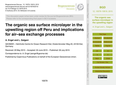 The Organic Sea Surface Microlayer in th... by Engel, A.