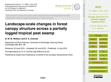 Landscape-scale Changes in Forest Canopy... by Wedeux, B. M. M.