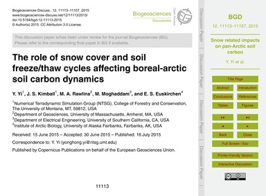The Role of Snow Cover and Soil Freeze/T... by Yi, Y.