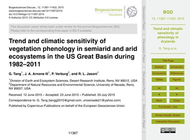 Trend and Climatic Sensitivity of Vegeta... by Tang, G.