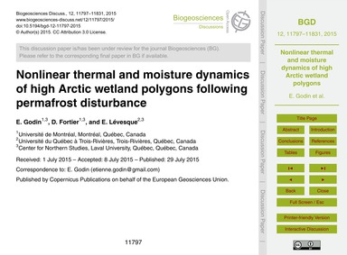 Nonlinear Thermal and Moisture Dynamics ... by Godin, E.