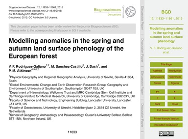 Modelling Anomalies in the Spring and Au... by Rodriguez-galiano, V. F.