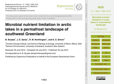 Microbial Nutrient Limitation in Arctic ... by Burpee, B.