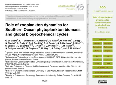 Role of Zooplankton Dynamics for Souther... by Le Quéré, C.