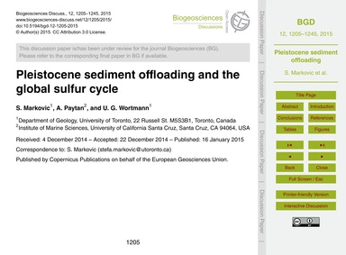 Pleistocene Sediment Offloading and the ... by Markovic, S.