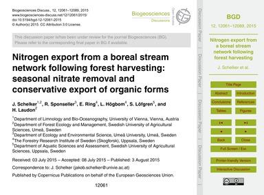 Nitrogen Export from a Boreal Stream Net... by Schelker, J.