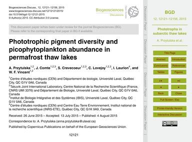 Phototrophic Pigment Diversity and Picop... by Przytulska, A.