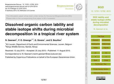 Dissolved Organic Carbon Lability and St... by Geeraert, N.