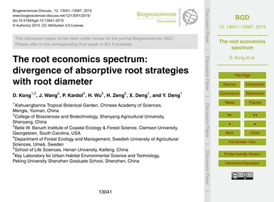 The Root Economics Spectrum: Divergence ... by Kong, D.