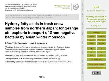 Hydroxy Fatty Acids in Fresh Snow Sample... by Tyagi, P.