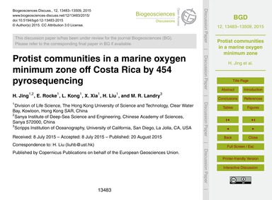 Protist Communities in a Marine Oxygen M... by Jing, H.