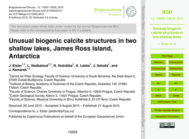 Unusual Biogenic Calcite Structures in T... by Elster, J.