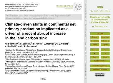 Climate-driven Shifts in Continental Net... by Buermann, W.