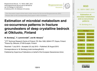 Estimation of Microbial Metabolism and C... by Bomberg, M.