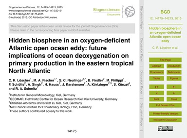 Hidden Biosphere in an Oxygen-deficient ... by Löscher, C. R.