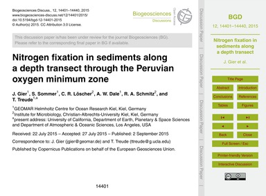 Nitrogen Fixation in Sediments Along a D... by Gier, J.