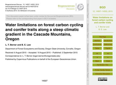 Water Limitations on Forest Carbon Cycli... by Berner, L. T.