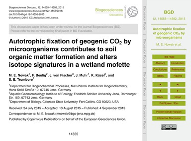 Autotrophic Fixation of Geogenic Co2 by ... by Nowak, M. E.