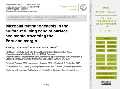 Microbial Methanogenesis in the Sulfate-... by Malt, J.