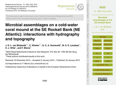 Microbial Assemblages on a Cold-water Co... by Van Bleijswijk, J. D. L.