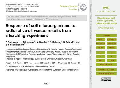 Response of Soil Microorganisms to Radio... by Galitskaya, P.