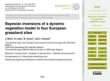 Bayesian Inversions of a Dynamic Vegetat... by Minet, J.