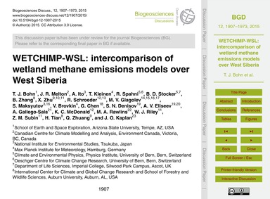 Wetchimp-wsl: Intercomparison of Wetland... by Bohn, T. J.