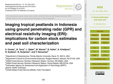 Imaging Tropical Peatlands in Indonesia ... by Comas, X.