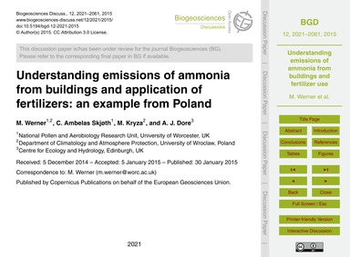 Understanding Emissions of Ammonia from ... by Werner, M.