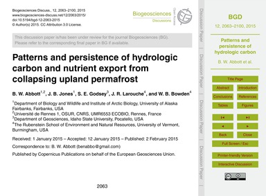 Patterns and Persistence of Hydrologic C... by Abbott, B. W.