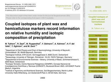 Coupled Isotopes of Plant Wax and Hemice... by Tuthorn, M.