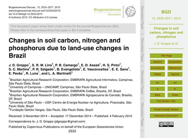Changes in Soil Carbon, Nitrogen and Pho... by Groppo, J. D.