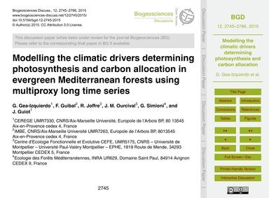 Modelling the Climatic Drivers Determini... by Gea-izquierdo, G.