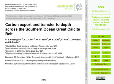 Carbon Export and Transfer to Depth Acro... by Rosengard, S. Z.