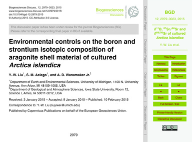 Environmental Controls on the Boron and ... by Liu, Y.-w.
