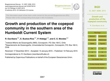 Growth and Production of the Copepod Com... by Escribano, R.
