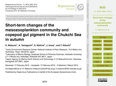 Short-term Changes of the Mesozooplankto... by Matsuno, K.