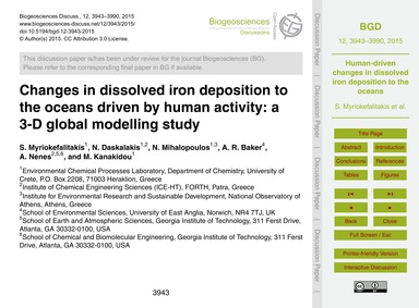Changes in Dissolved Iron Deposition to ... by Myriokefalitakis, S.